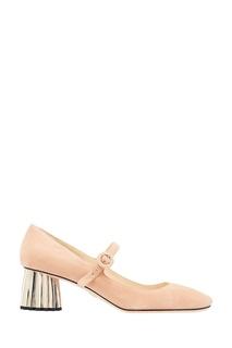 Бежевые замшевые туфли на фигурном каблуке Prada
