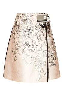 Шелковая юбка с принтом Prada