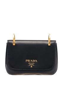 Черная кожаная сумка на текстильном ремне Prada