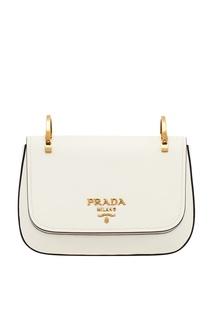 Белая кожаная сумка на текстильном ремне Prada
