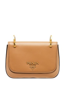 Бежевая кожаная сумка на текстильном ремне Prada