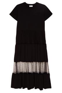 Черное хлопковое платье с сеткой RED Valentino