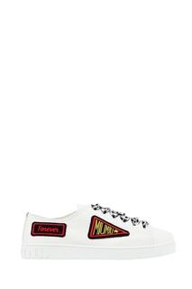 Кожаные кеды с декоративной шнуровкой Miu Miu