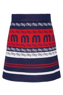 Трикотажная мини-юбка с отделкой Miu Miu