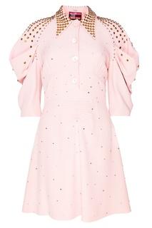 Платье-миди с золотистыми заклепками Miu Miu
