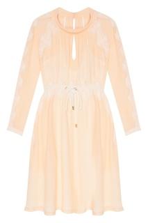 Бежевое платье с кружевом Laroom