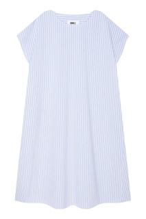 Голубое хлопковое платье в полоску Mm6 Maison Margiela