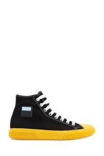 Черные кеды с желтой подошвой Prada