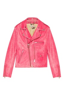 Розовая куртка из потертой кожи Golden Goose Deluxe Brand