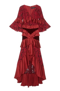 Шелковое платье с каскадными оборками Romance WAS Born