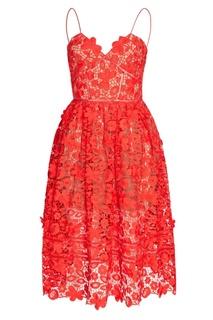 Красное платье на бретелях Self Portrait