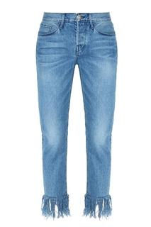 Синие джинсы с бахромой по низу 3х1
