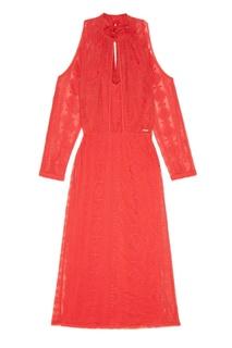 Красное платье из вышитого хлопка Laroom