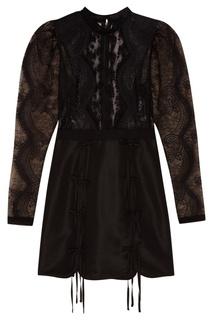 Черное платье-мини с кружевом Self Portrait