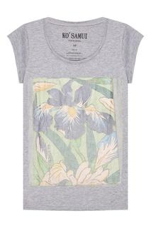 Серая меланжевая футболка Flowers KO Samui