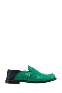 Зеленые лоферы из тисненой кожи Loewe