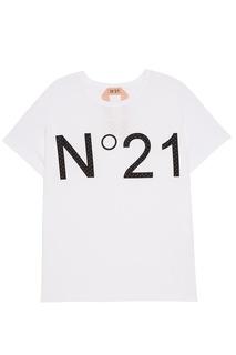 Белая футболка с перфорацией No.21