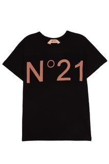 Черная футболка с логотипом No.21