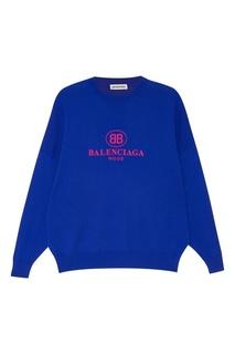 Шерстяной джемпер с вышитым логотипом Balenciaga