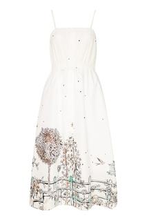 Хлопковое платье с акварельным принтом Paul & Joe Sister
