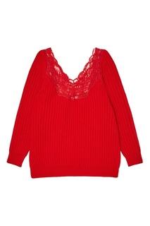 Красный шерстяной джемпер с кружевом Balenciaga
