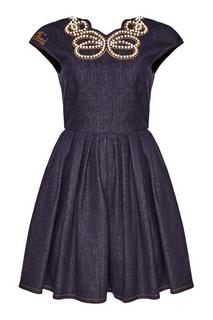 Хлопковое платье с жемчужным декором Fendi