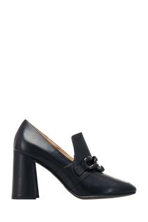 Черные кожаные туфли с цепью What FOR