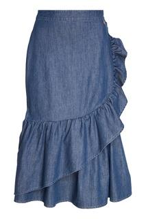 Джинсовая юбка-миди с воланами Akhmadullina Dreams