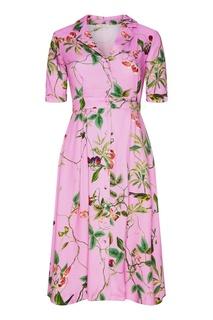 Розовое платье-рубашка с цветочным принтом Akhmadullina Dreams