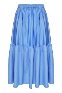 Синяя хлопковая юбка с воланом Stella Mc Cartney