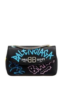 Кожаная сумка с принтом BB Round M Graffiti Balenciaga