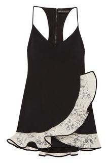 Черное платье-мини с кружевным воланом David Koma