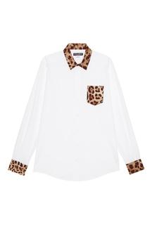 Рубашка с леопардовой отделкой Dolce & Gabbana