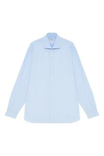 Голубая сорочка из хлопка Z Zegna