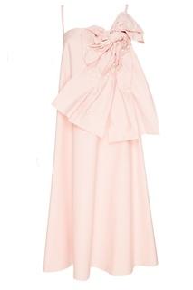 Розовое платье с драпированным воланом RED Valentino