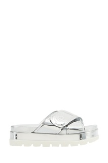 Серебристые ламинированные сандалии Moncler