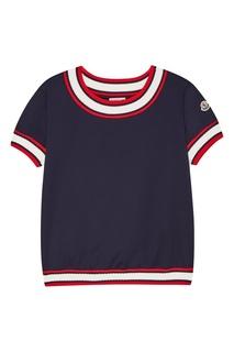 Синяя хлопковая футболка с окантовками Moncler