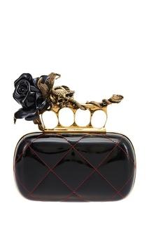 Черный кожаный клатч с розой Knuckle Alexander Mc Queen