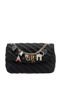 Черная кожаная сумка с логотипами BB Round M Balenciaga