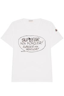 Белая футболка с надписями Moncler