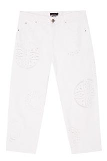 Белые джинсы с перфорированными орнаментами Isabel Marant