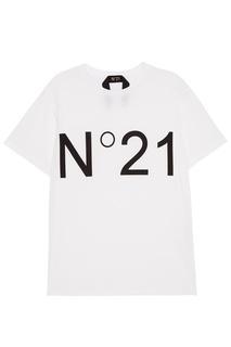Белая футболка с контрастным логотипом No.21