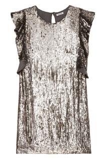 Серебристое платье с оборками на рукавах P.A.R.O.S.H.