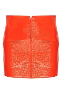 Красная юбка из эко-кожи Courreges