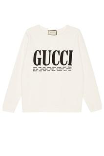 Белый свитшот с контрастным логотипом Gucci