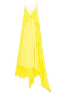 Желтое шелковое платье с кружевом Balenciaga