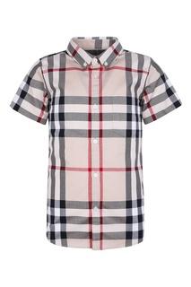 Рубашка в клетку с короткими рукавами Burberry Children