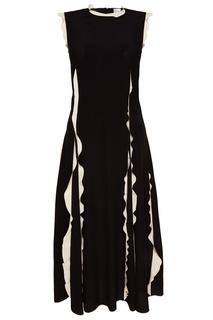 Черное шелковое платье с оборками RED Valentino