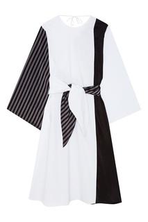 Комбинированное платье из хлопка Mm6 Maison Margiela