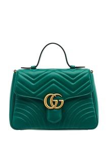Зеленая кожаная сумка GG Marmont Gucci